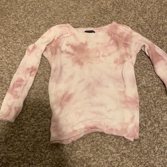 American Eagle XS Pink White Tie Dye Shirt